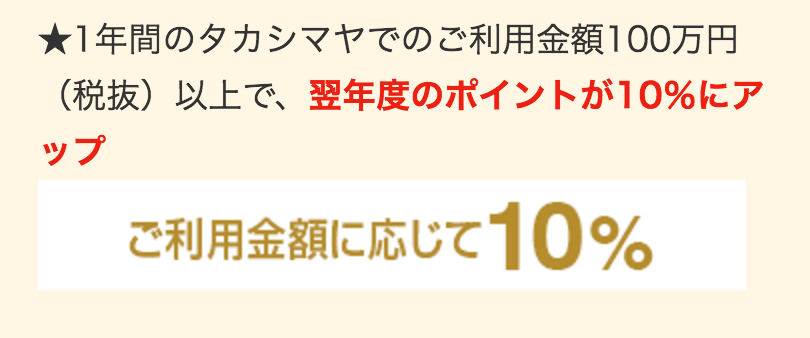 タカシマヤ 利用金額100万円以上で翌年度ポイント10%にアップ