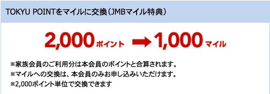 JALカード 東急 ポイント交換