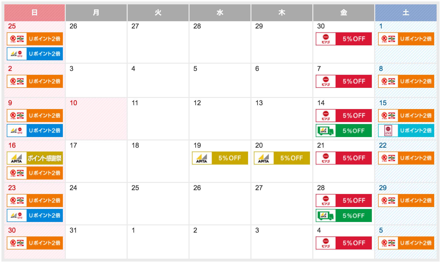 UCSゴールドカード 特典 カレンダー