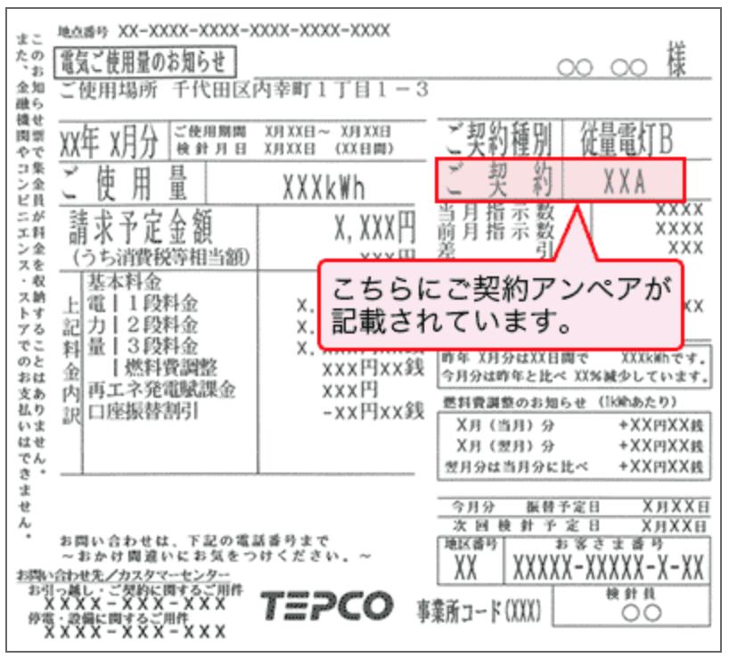 東京電力「契約アンペア」