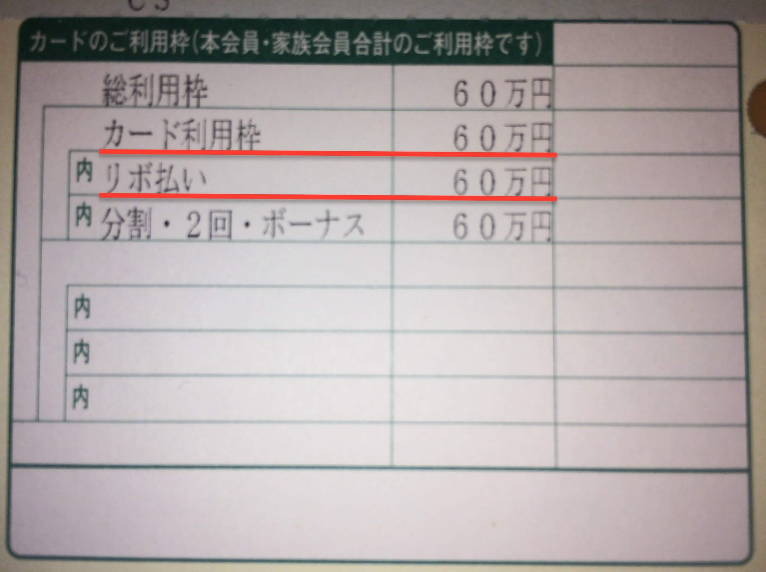 三井住友カード 利用枠