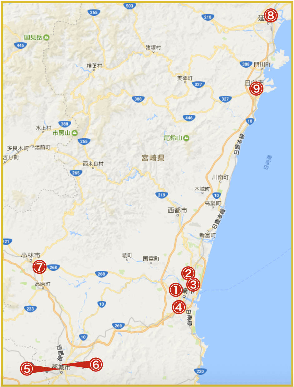 宮崎県にあるアイフル店舗・ATMの位置