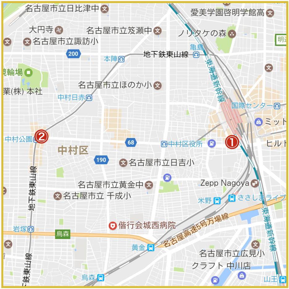 名古屋市中村区にあるアイフル店舗・ATMの位置