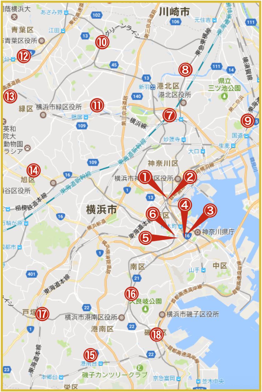 横浜市にあるアイフル店舗・ATMの位置