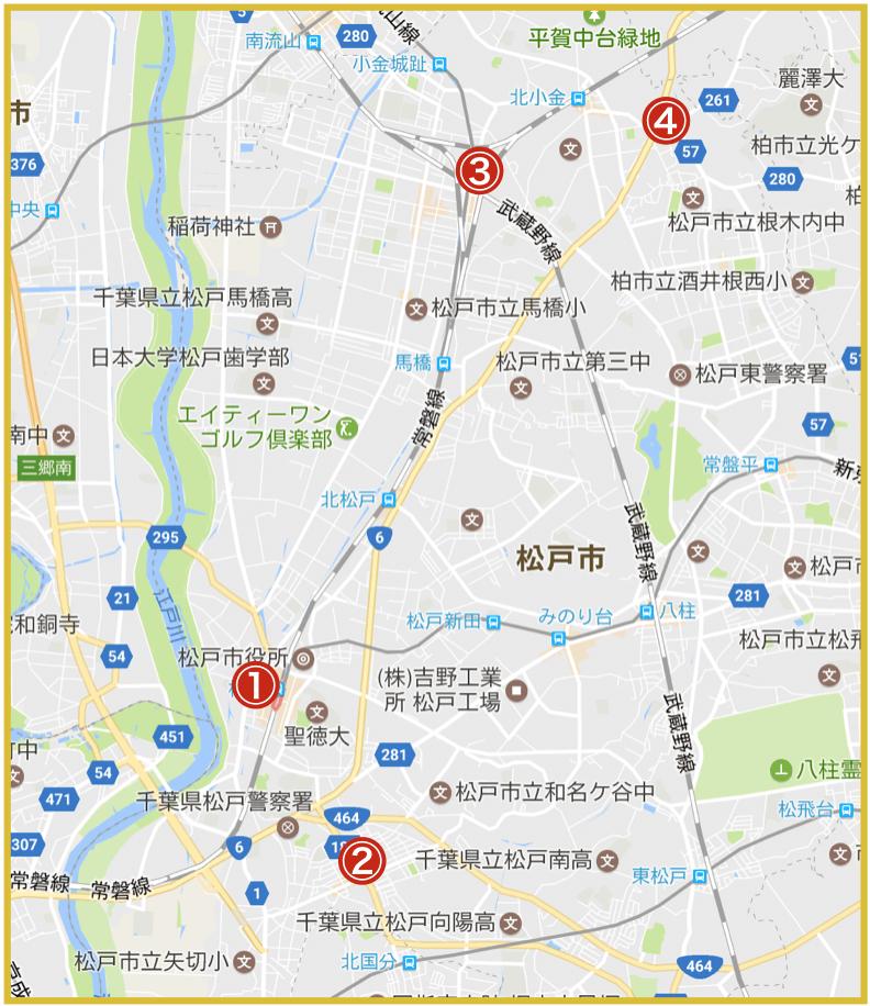 松戸市にあるアイフル店舗・ATMの位置
