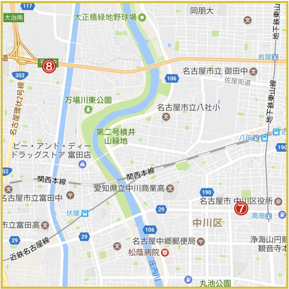 名古屋市中川区にあるアイフル店舗・ATMの位置
