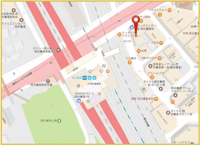 西日暮里駅周辺にあるアイフル店舗・ATMの位置