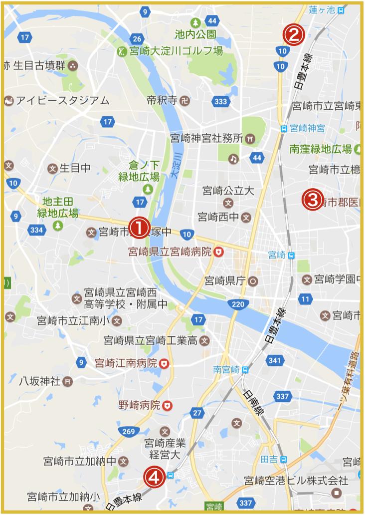 宮崎県宮崎市にあるアイフル店舗・ATMの位置