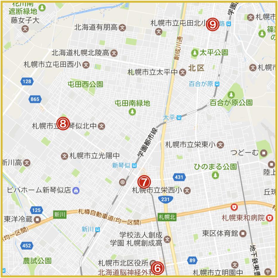 札幌市北区にあるアイフル店舗・ATMの位置