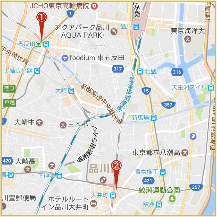 品川駅から最寄りにあるアイフル店舗・ATMの位置
