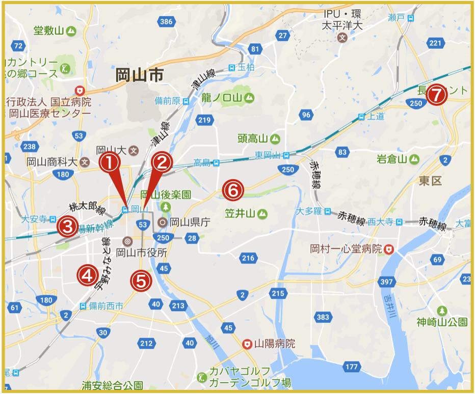 岡山県岡山市にあるアイフル店舗・ATMの位置