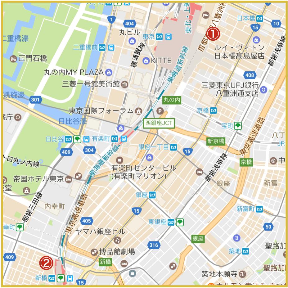 銀座駅最寄りにあるプロミス店舗・ATMの位置