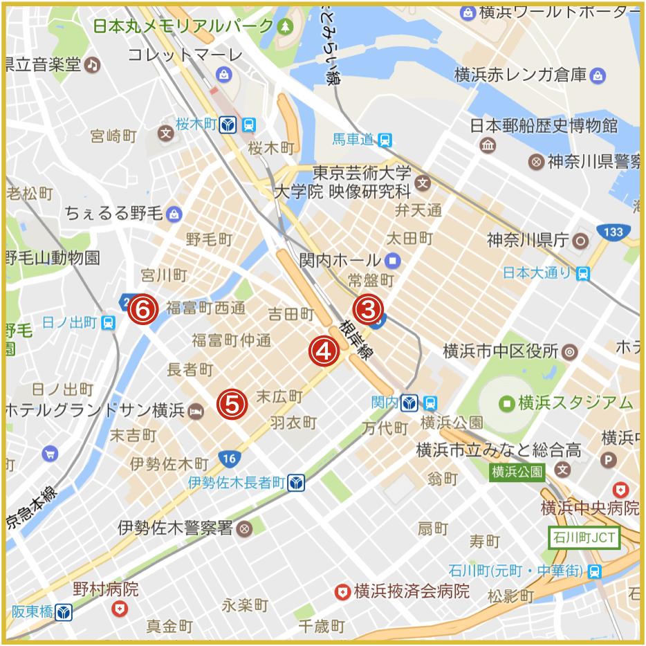 横浜市中区にあるアイフル店舗・ATMの位置