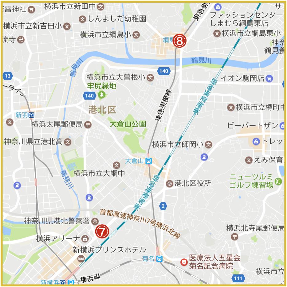 横浜市港北区にあるアイフル店舗・ATMの位置