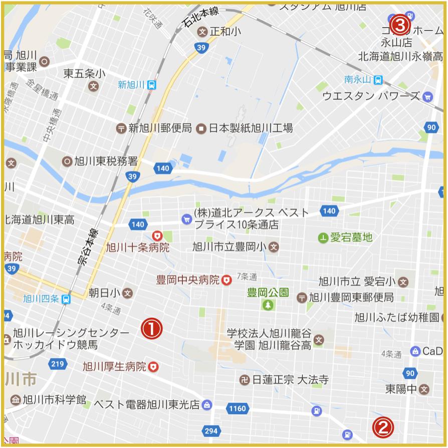 旭川市にあるアイフル店舗・ATMの位置