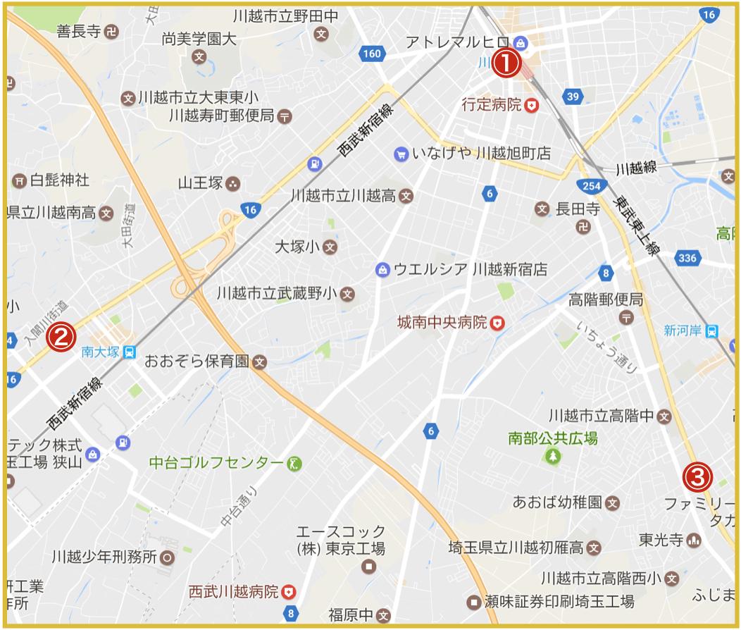 川越市にあるプロミス店舗・ATMの位置
