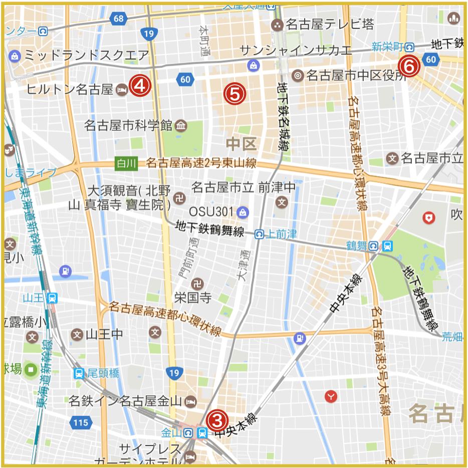名古屋市中区にあるアイフル店舗・ATMの位置