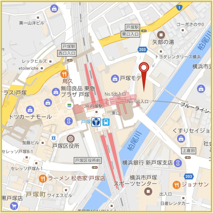 戸塚駅周辺にあるアイフル店舗・ATMの位置