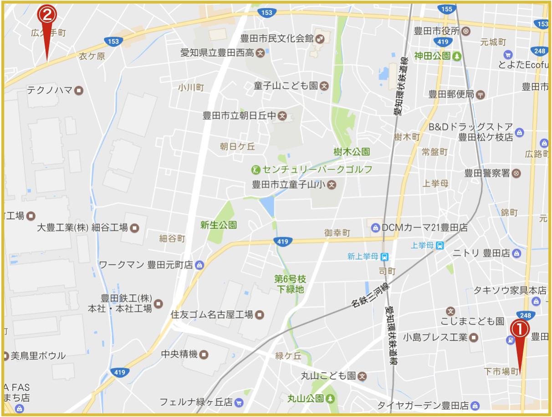 豊田市にあるアイフル店舗・ATMの位置