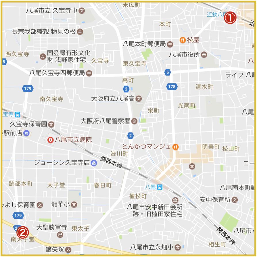 八尾市にあるアイフル店舗・ATMの位置