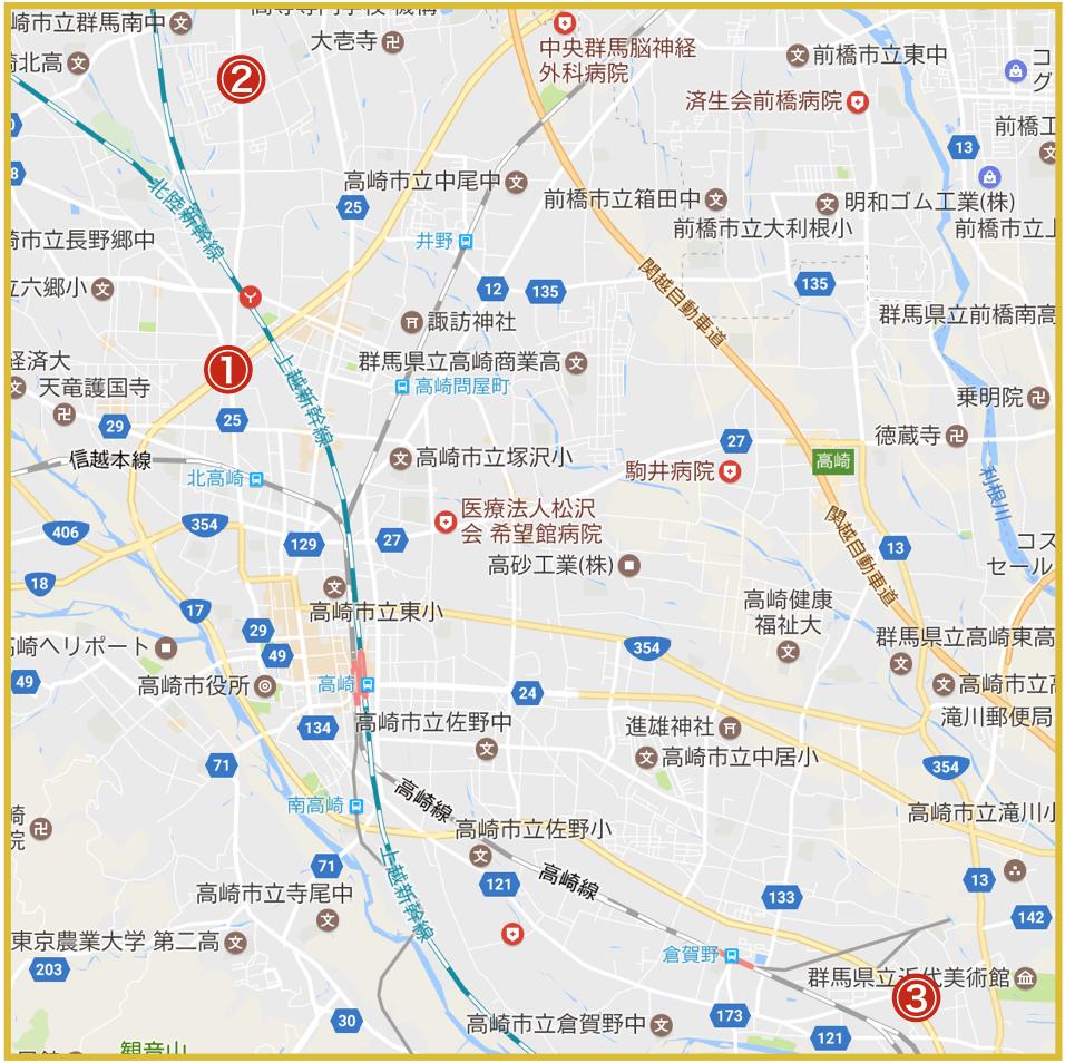 高崎市にあるアイフル店舗・ATMの位置