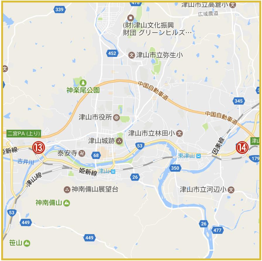 岡山県津山市にあるアイフル店舗・ATMの位置