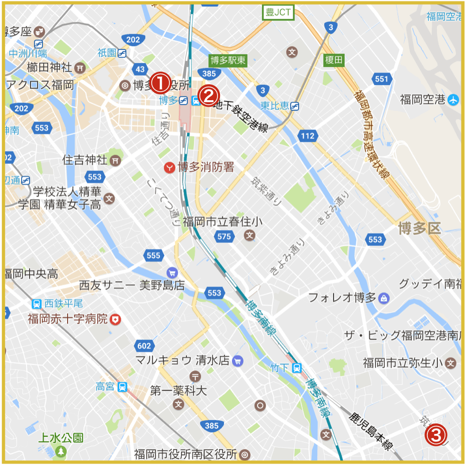 福岡市博多区にあるプロミス店舗・ATMの位置