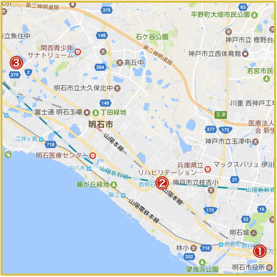 明石市にあるプロミス店舗・ATMの位置