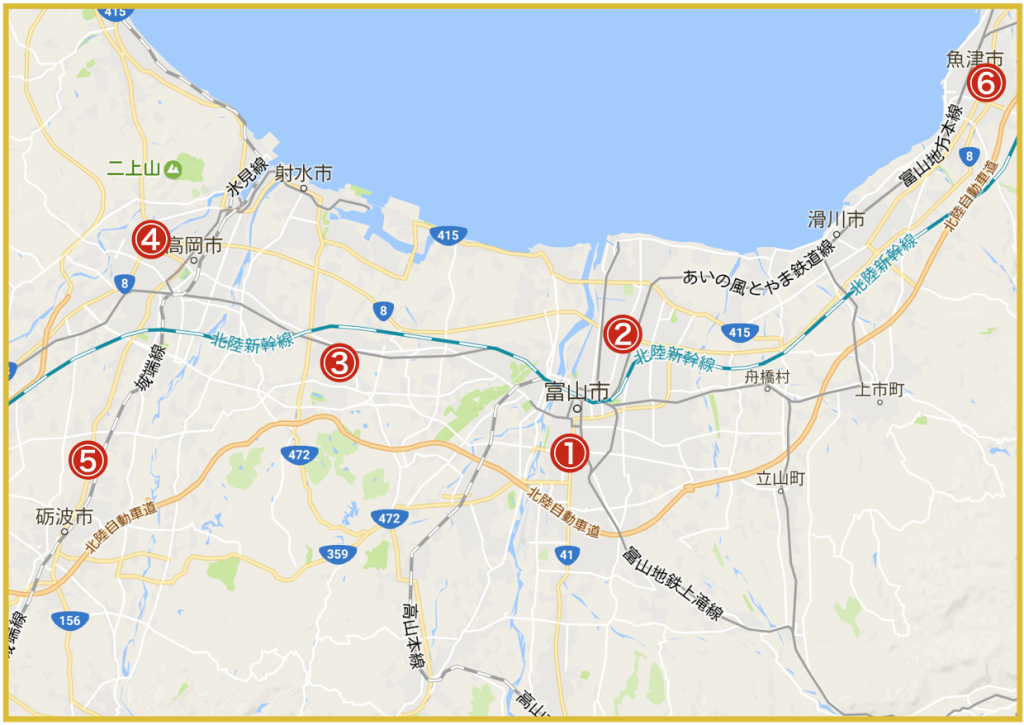 富山県にあるプロミス店舗・ATMの位置