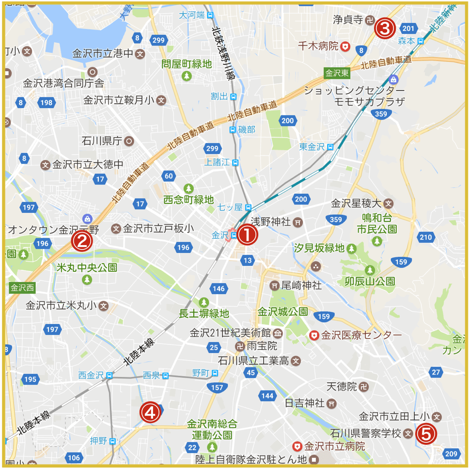 金沢市にあるプロミス店舗・ATMの位置
