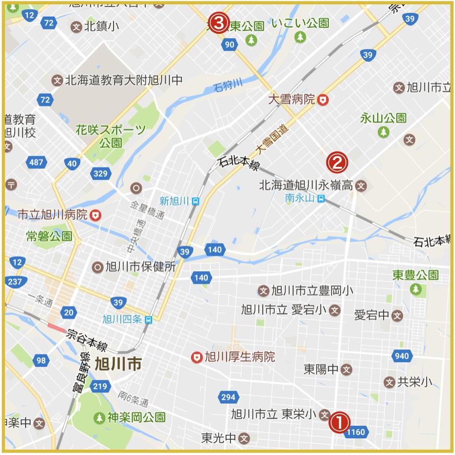 旭川市にあるプロミス店舗・ATMの位置