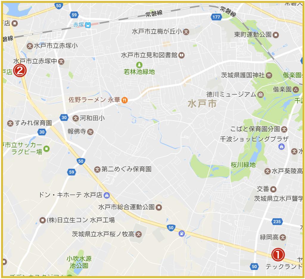 水戸市にあるプロミス店舗・ATMの位置