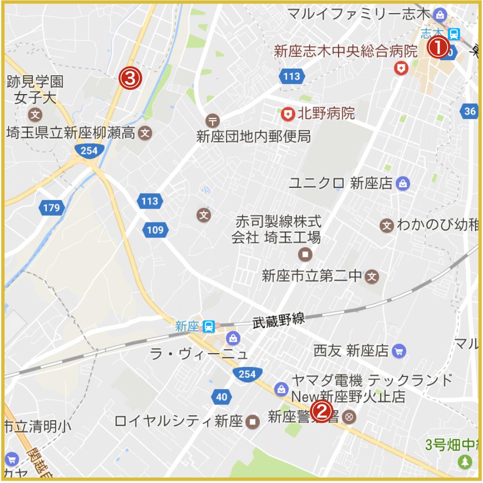 埼玉県南西部地域にあるアイフル店舗・ATMの位置