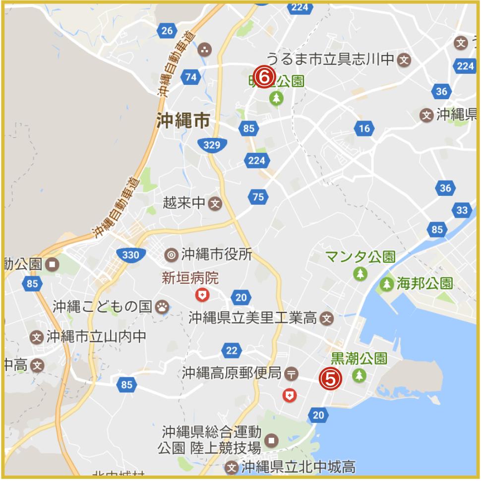沖縄県沖縄市にあるプロミス店舗・ATMの位置