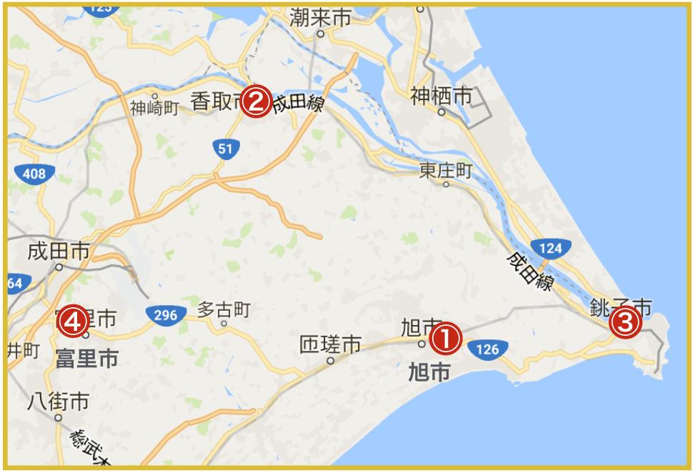 千葉県東地域にあるアイフル店舗・ATMの位置