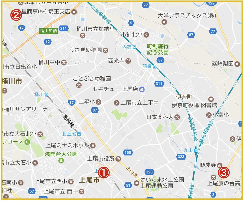埼玉県県央地域にあるアイフル店舗・ATMの位置