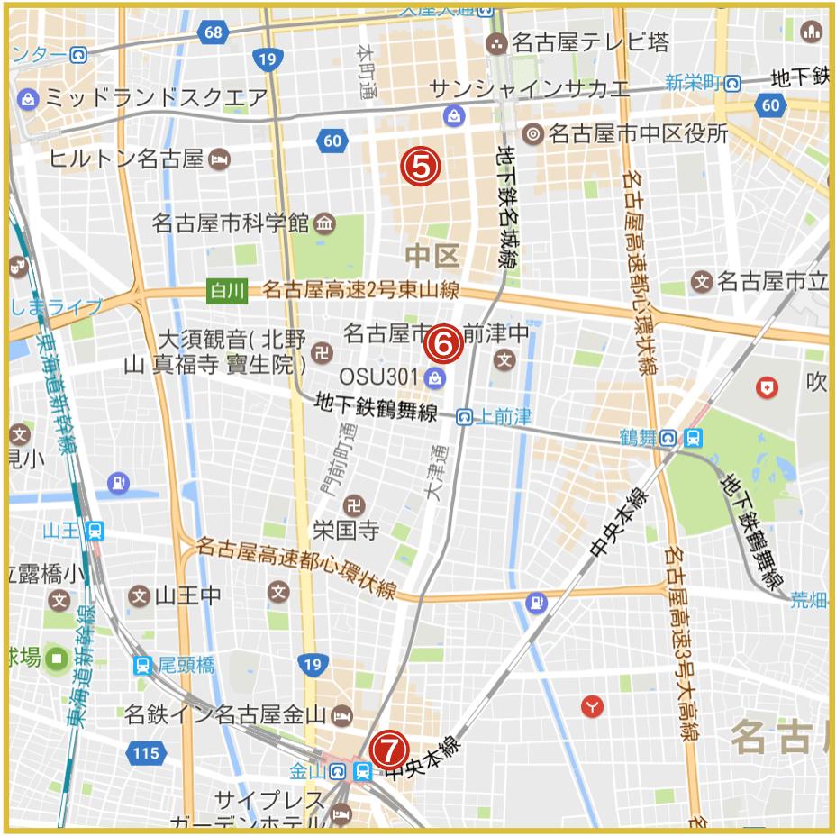 名古屋市中区にあるプロミス店舗・ATMの位置