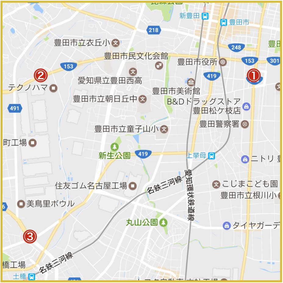 豊田市にあるプロミス店舗・ATMの位置