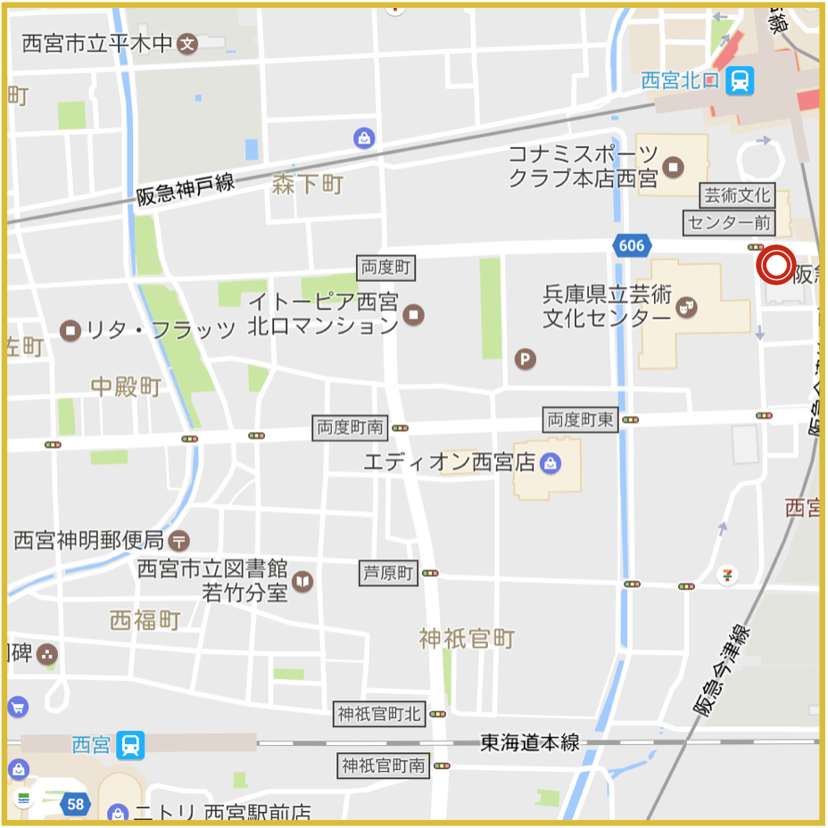 西宮駅周辺にあるプロミス店舗・ATMの位置