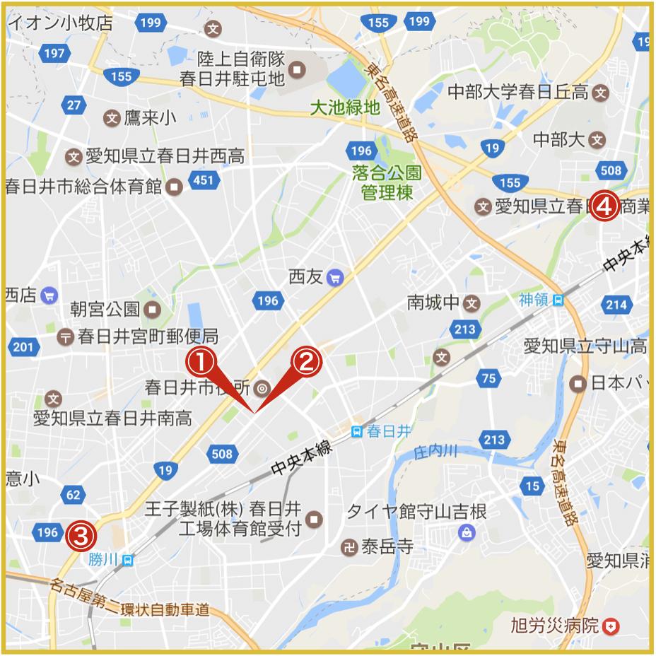 春日井市にあるプロミス店舗・ATMの位置
