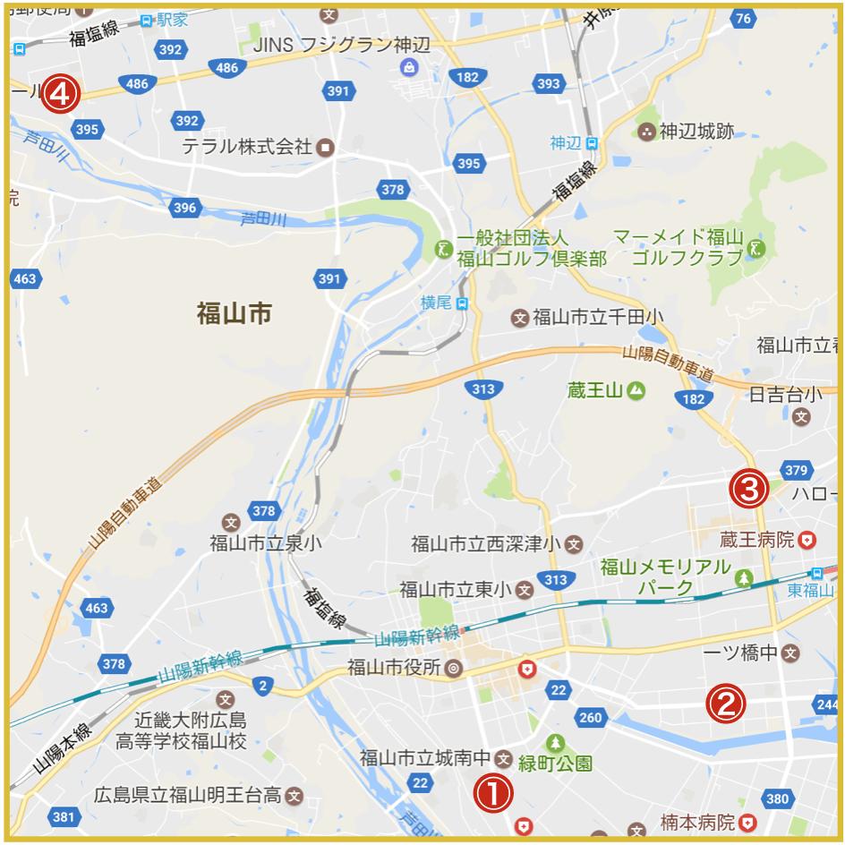 福山市にあるプロミス店舗・ATMの位置