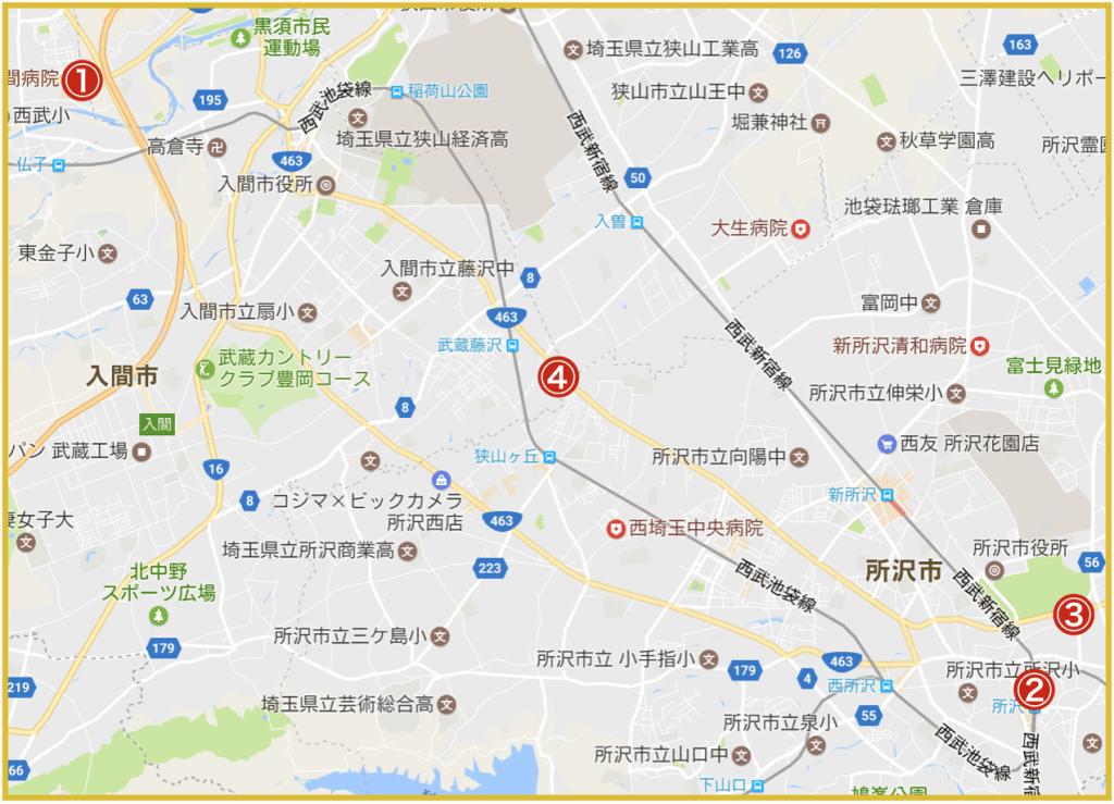 埼玉県西部地域にあるアイフル店舗・ATMの位置