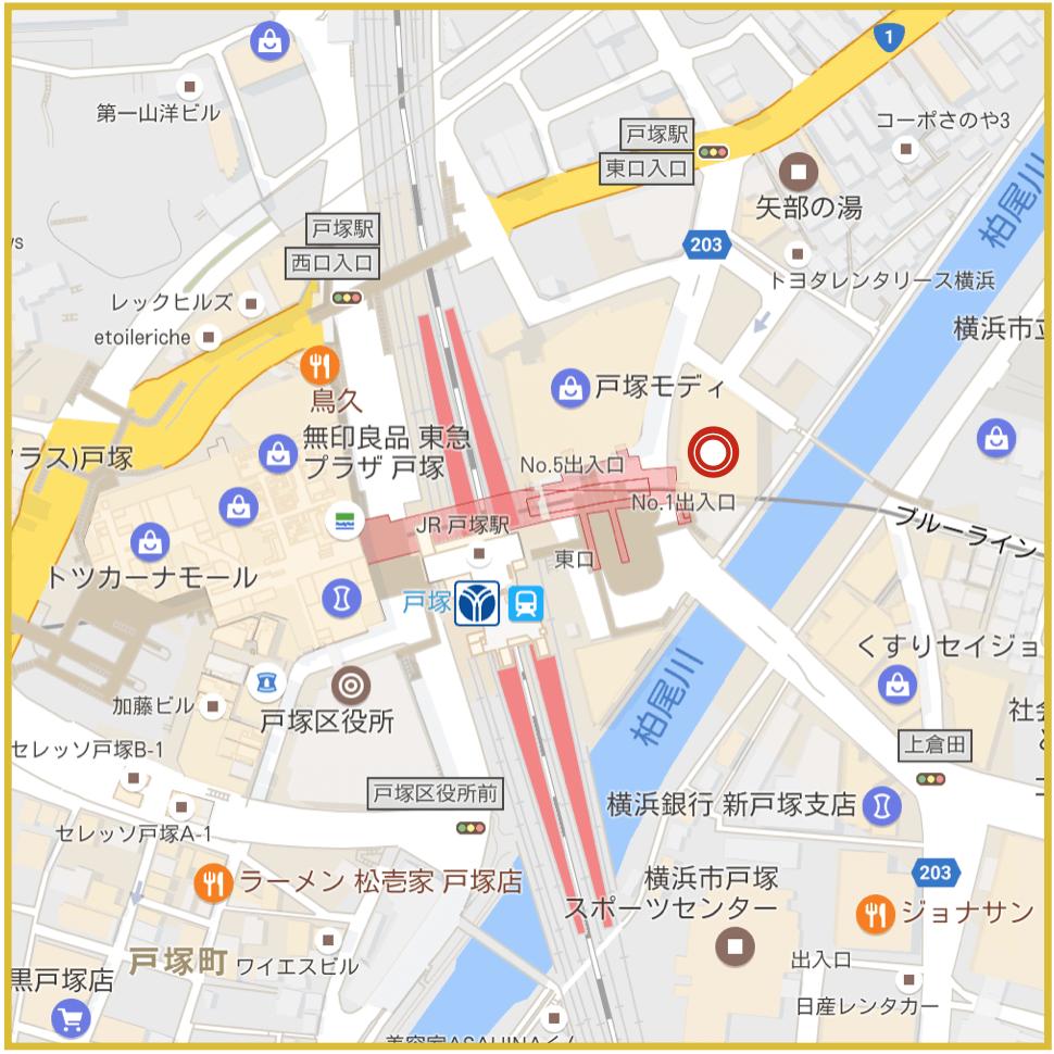戸塚駅周辺にあるアコム店舗・ATMの位置