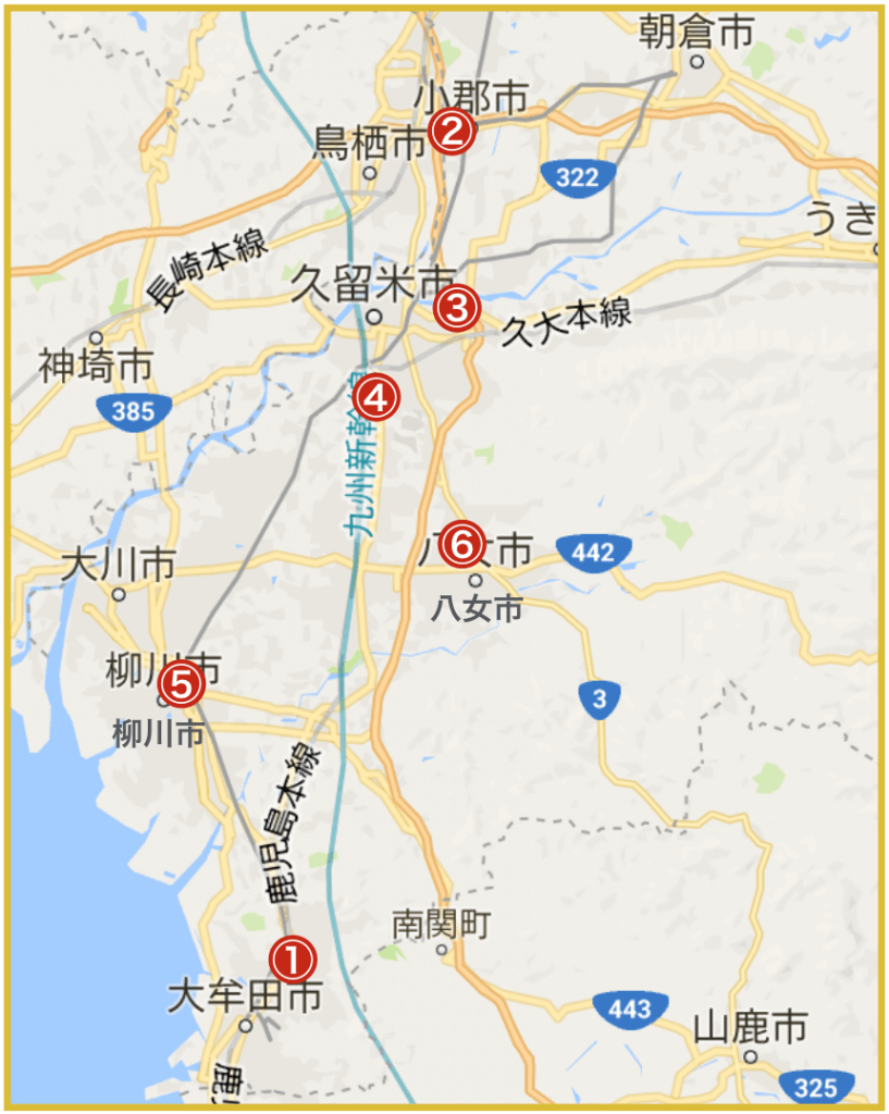 福岡県筑後地域にあるプロミス店舗・ATMの位置