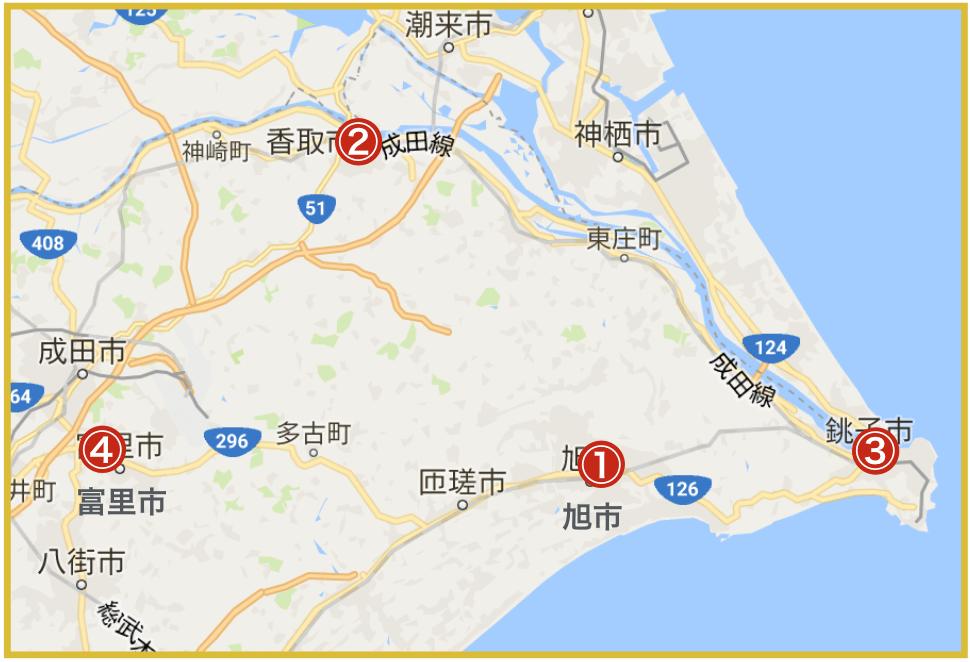 千葉県東地域にあるプロミス店舗・ATMの位置