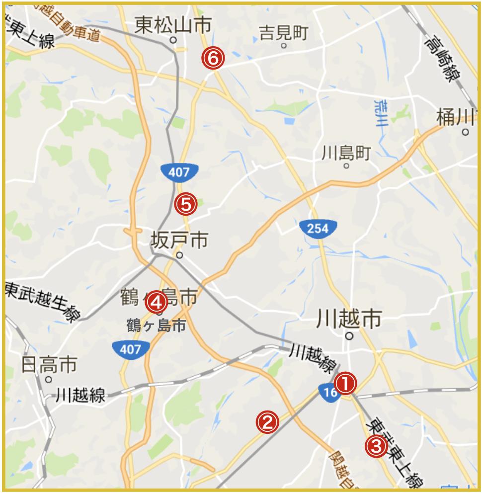 埼玉県川越比企地域にあるアイフル店舗・ATMの位置