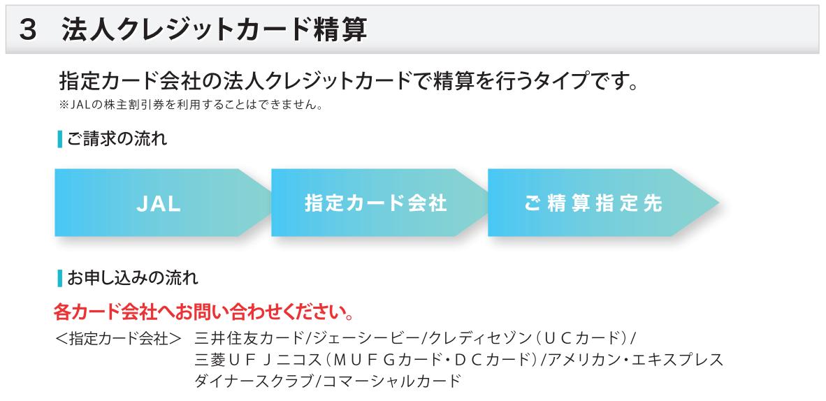 JALオンライン 指定カード会社