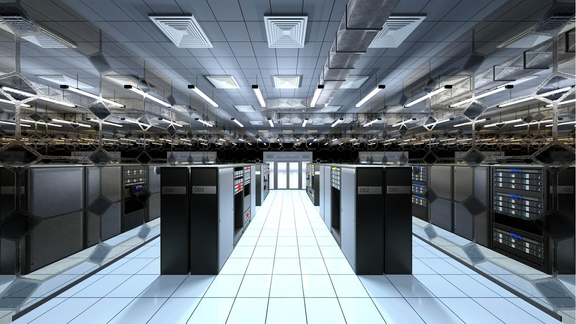 部屋に並ぶコンピューター機器