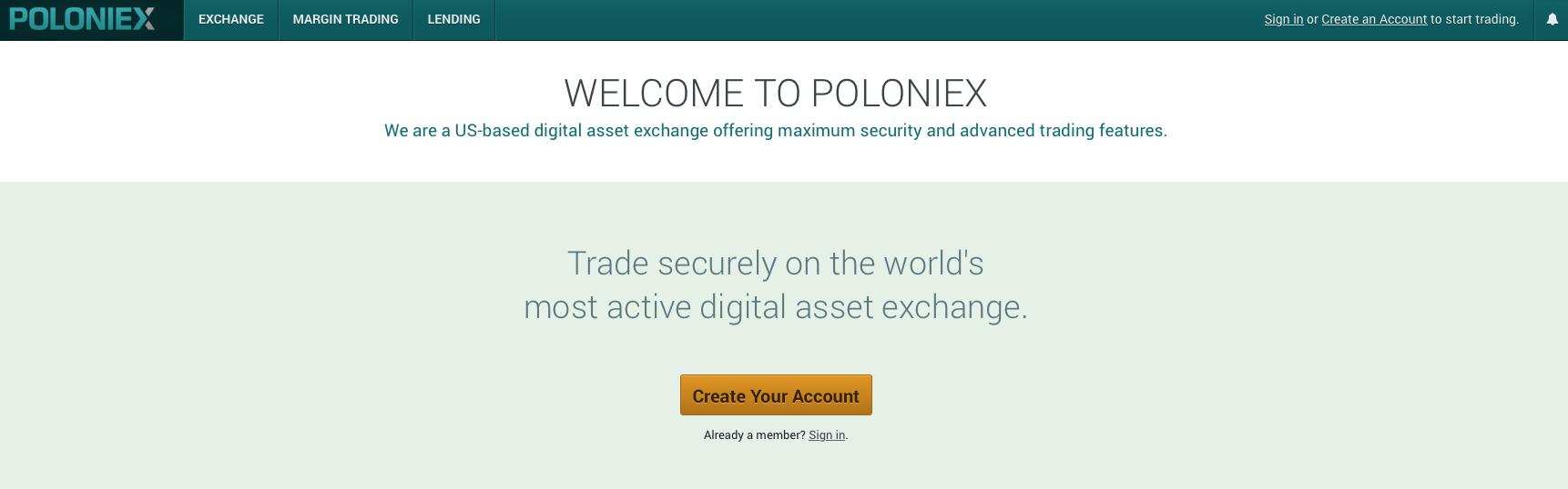 Poloniexの公式ページ
