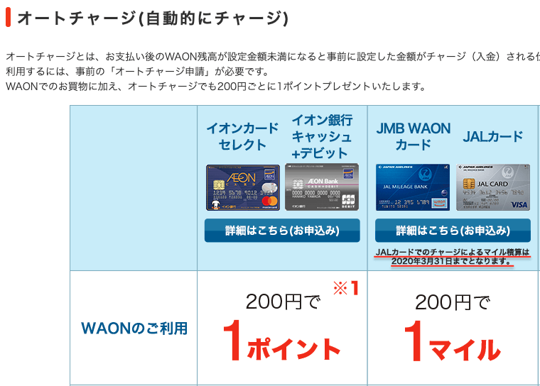 JALカードによるWAONのオートチャージ改悪